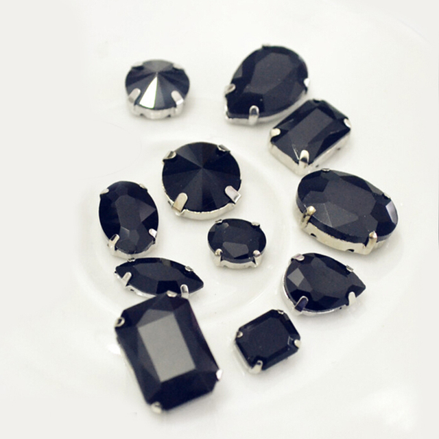 Claw Rhinestones Jet Black 8mm 8x13mm 10x14mm 13x18mm Rivoli Evening Dress Decorations Sewing On Rhinestones
