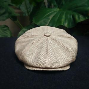 Image 3 - Casquette Four Seasons Cotton And Linen Black Mens Newsboy Hat Male Beret Men And Women Retro England Visor Big Head Cap BLM20
