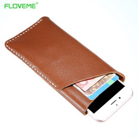 FLOVEME Universal 4 7inch Pouch Genuine Leather Wallet Case For IPhone 7 6 Retro Soft Phone