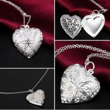 fashion jewelry necklace silver plated pendant Heart-shaped net flower photo frame,free shipping