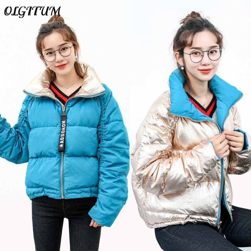 New Brand 80% White Duck Down Jacket Women Fashion Double-Sided Wear Winter Coat Short Thick Warm Gold/Blue Outwear Loose   Parka