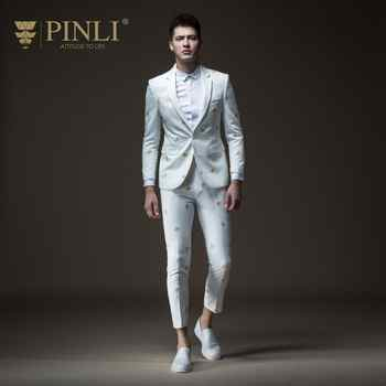 Free Shipping men's male man casual white Autumn new embroidered suit jacket B183206572 and trousers B183215573 set - DISCOUNT ITEM  14% OFF All Category