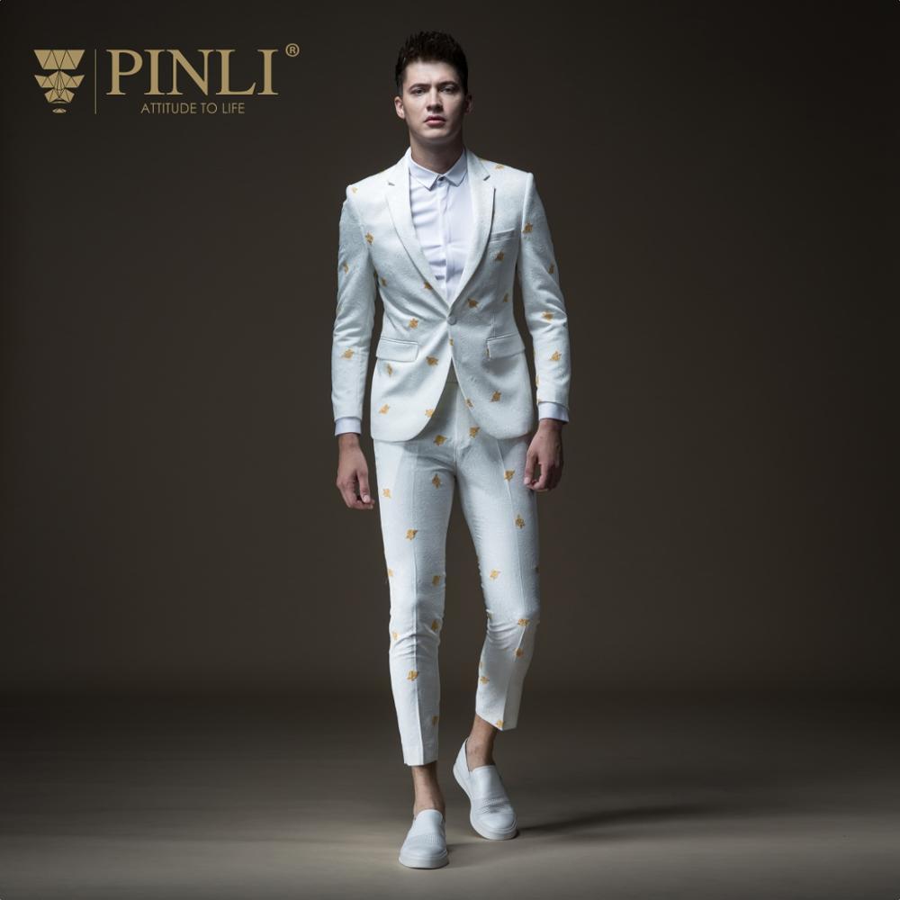 Gratis Verzending mannen mannelijke man casual wit Herfst nieuwe geborduurd jasje B183206572 en broek B183215573 set-in Blazers van Mannenkleding op  Groep 1
