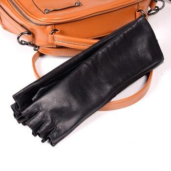 кожаные оперные перчатки | Новые женские длинные перчатки из натуральной овечьей кожи, Вечерние перчатки, перчатки без пальцев