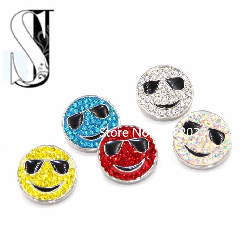 Wholesale Mixed Complacent Face style Rhinestone Crystal Snap Buttons Fit DIY Bracelet 18mm Metal Smug expression snap jewelry