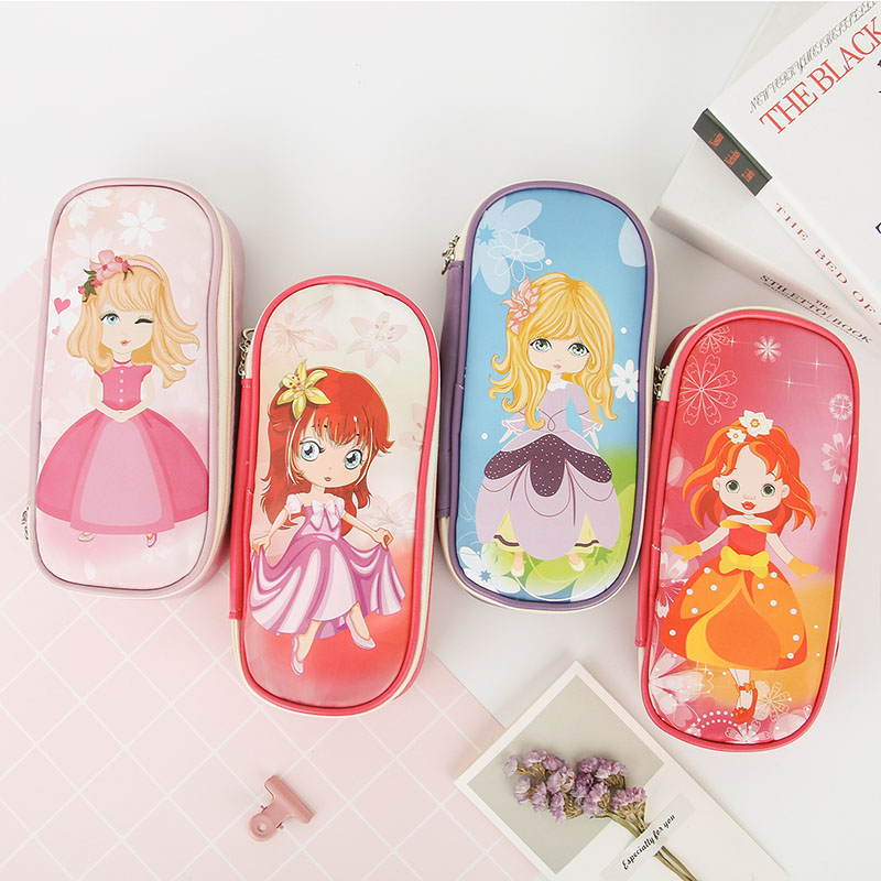 Kawaii PU Leather pencil case for girls cute large capacity pen bag stationery Storage pouch school supplies zakka escolar kawaii cartoon girls school pencil case with lock cute pu leather large capacity pencil bag gift bts pen box stationery supplies