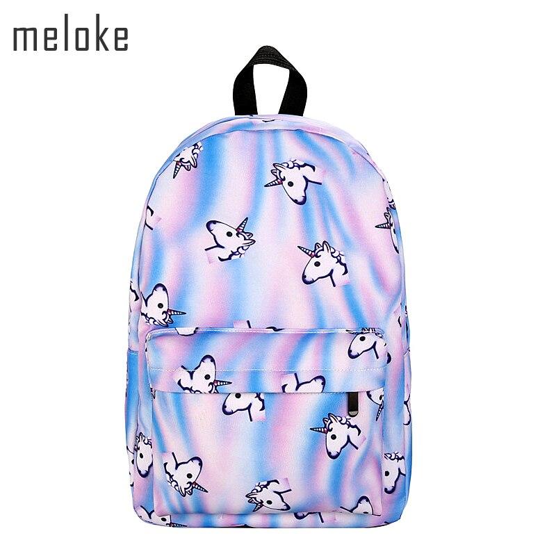 Meloke 2018 new unicorn backpack women mochila bookbag school bags for teenage girls sac a dos canvas backpacks drop shipping