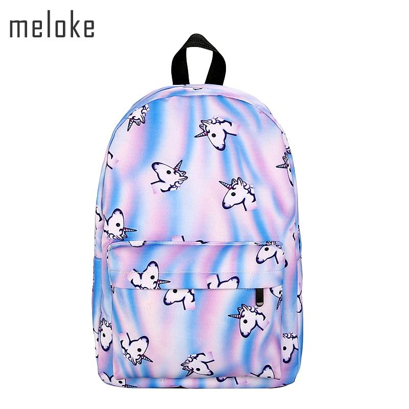 Meloke 2019 New Unicorn Backpack Women Mochila Bookbag School Bags For Teenage Girls Sac A Dos Canvas Backpacks Drop Shipping