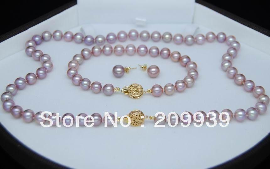 Huij 002176 Топ 9 10 мм круглый натуральный фиолетовый цвет жемчужный набор 14K