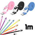 1M Noodle Flat Wire Data Line Charger Sync Micro USB Charge Cable for Android Samsung S6 S5 S4 S3 HTC Xiaomi Huawei Mobile Phone