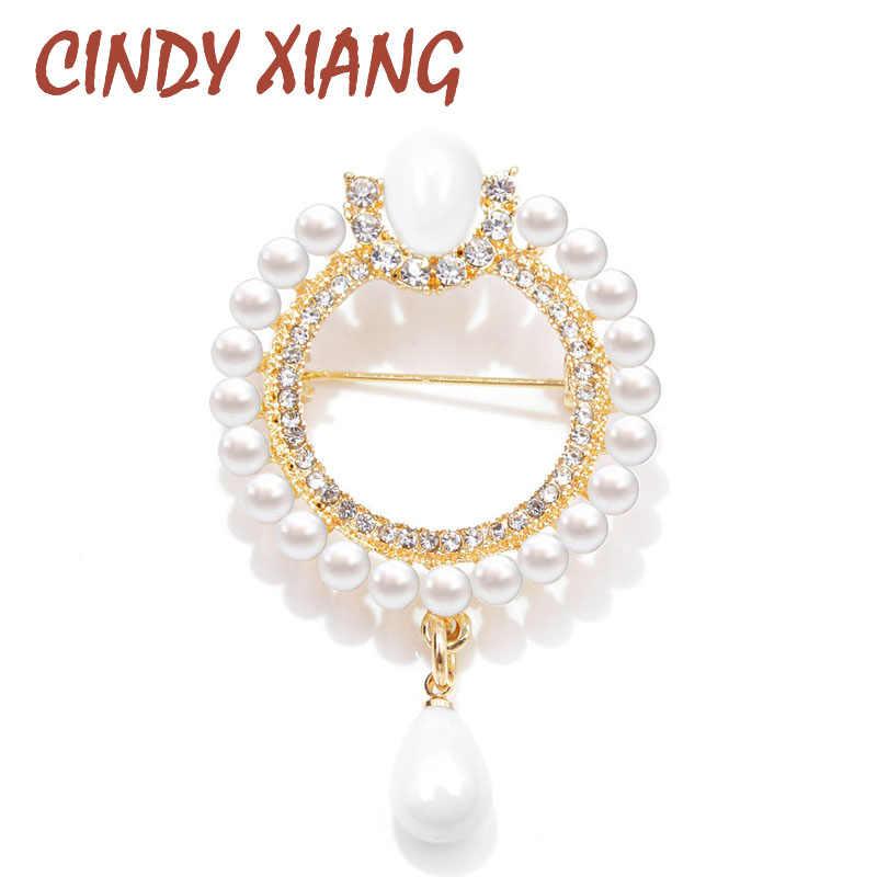 Cindy Xiang 2 Warna Pilih Mutiara dan Berlian Imitasi Bunga Lingkaran Bros untuk Wanita Gaya Baroque Elegan Bros Pin Hadiah Musim Dingin
