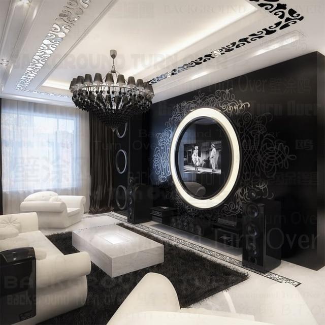 living room border design furniture sofas in mumbai diy waist line frame acrylic mirror wall stickers sticker vintage poster decoration interior decor r084