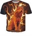 Fuego lobo 3d animal print mujeres de la camiseta tops camiseta del verano camiseta de los hombres camisa casual streetwear camiseta