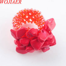 WOJIAER Natural Irregular Gem Stone Ring For Lady Red Turquoise Stretch Austrian Finger Rings Jewellery PJ3034(China)