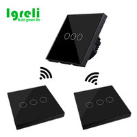 Igreli Eu Wireless Remote Control Switch,Luxury Tempered Glass Panel Free Wiring Sticker To Switches For Smart Home Led Light