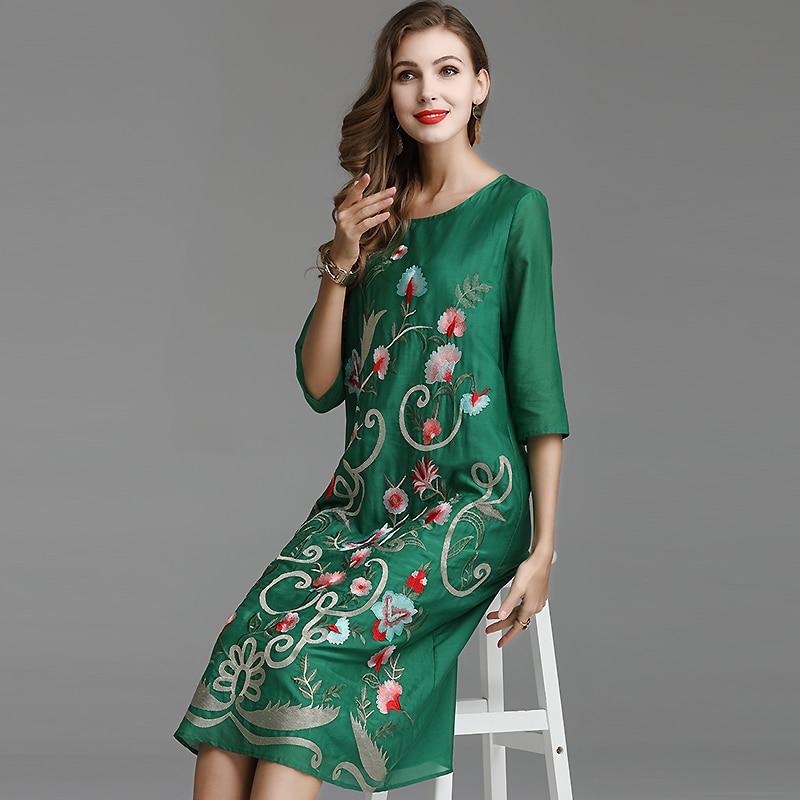 Embro moulin printemps et été broderie lâche rétro femmes vert robe style chinois élégant dame fête floral robe S-XXL