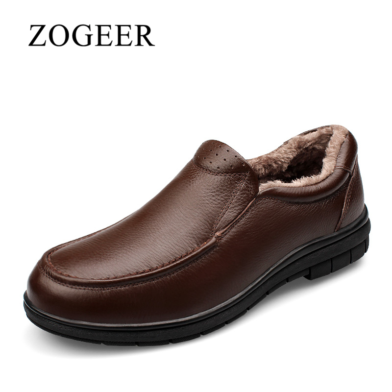 ZOGEER Plus Size 38-47 Men Casual Shoes, Genuine Leather Mens Winter Shoes, Slip On Plush Warm Man Loafers 2017 big size 38 46 genuine cow leather shoes men slip on mens shoes casual flats men loafers moccasins warm plush winter shoes