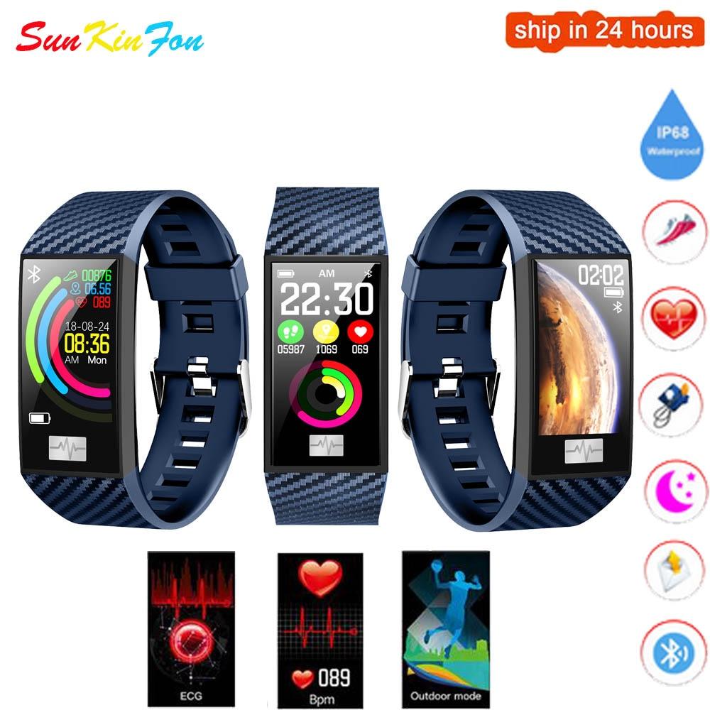 For Samsung Galaxy A9 A8 A7 A5 A3 Smart Wristband ECG Heart Rate Blood Pressure Fitness Tracker Watch Sport Smart Bracelet Band|Smart Wristbands|Consumer Electronics - title=
