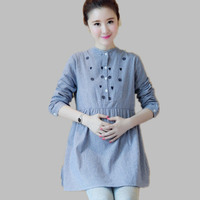 Envsoll Pleated Embroidery Cotton Maternity Shirt Spring & Autumn Blouse Tops Clothes for Pregnant Women Pregnancy Clothing