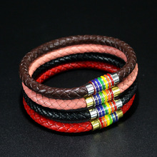 Magnet Clasp Genuine Leather Braided Bracelet Bangle for Women Men Leather Rainbow Bracelet Gay Pride Charm Bracelet Jewelry fashion stainless steel genuine leather jewelry charm leather bracelet for women braided bracelet men top quality dropshipping