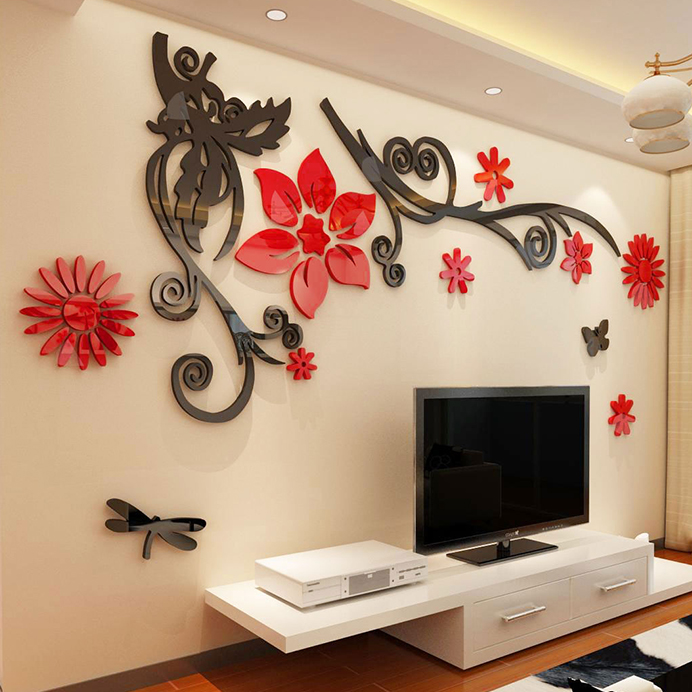 Wholesale Romantic wall sticker flower vine Tree 3d stereo acrylic crystal wall  stickers Modern living room