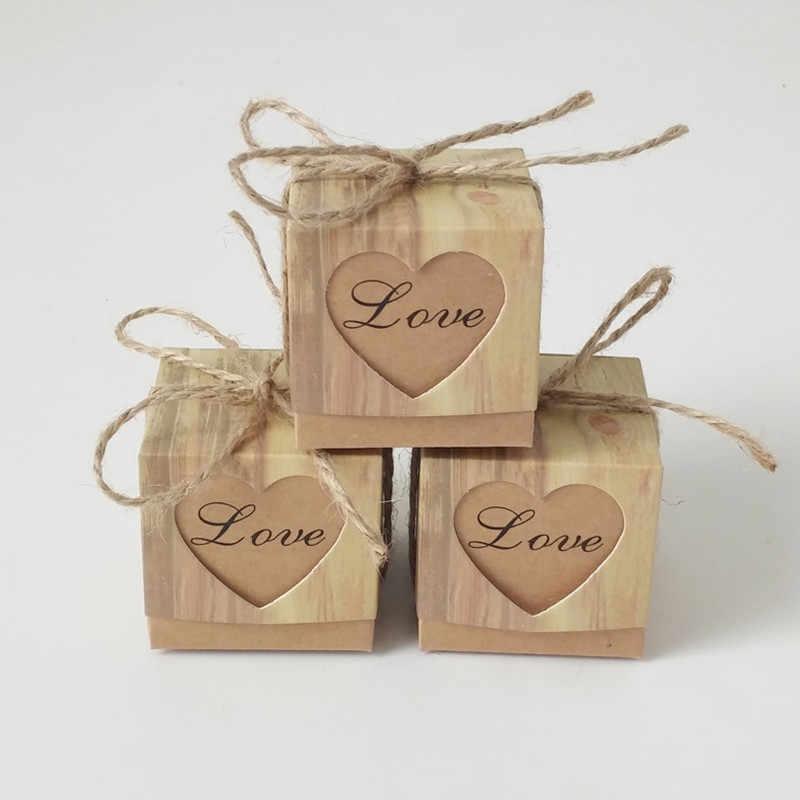 50pcs Amor Dragee Box Casamento Favores Do Partido Presentes Doces Sacos de Presentes De Casamento para Convidados Lembranças Do Bebê Decorações Do Bolo Presente