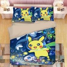 Mxdfafa Anime Pokemon Duvet Cover Set Cartoon Bedding Sets Luxury 3pcs Include 1 and 2 Pillowcase