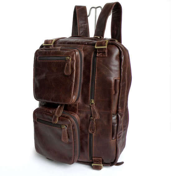 "Fashion Two Use Real Genuine Leather Men's Backpacks Leather Backpack Business Men Travel Bags 14"" Laptop Portfolio #VP-J7026"