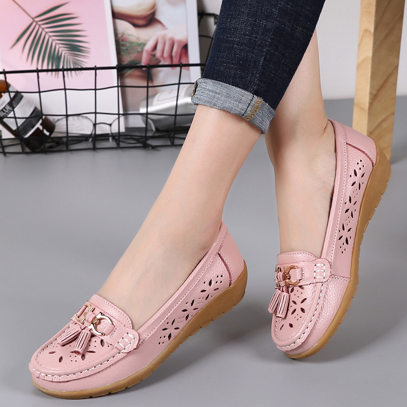Women Flats Summer Women Genuine Leather Shoes With Low Heels Slip On Casual Flat Shoes Women Loafers Soft Nurse Ballerina Shoes image