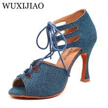 WUXIJIAO New Girl Dance Shoes Denim fabric  Lace-up shoes Latin Women Samba Party Ballroom Soft Bottom 5-10cm
