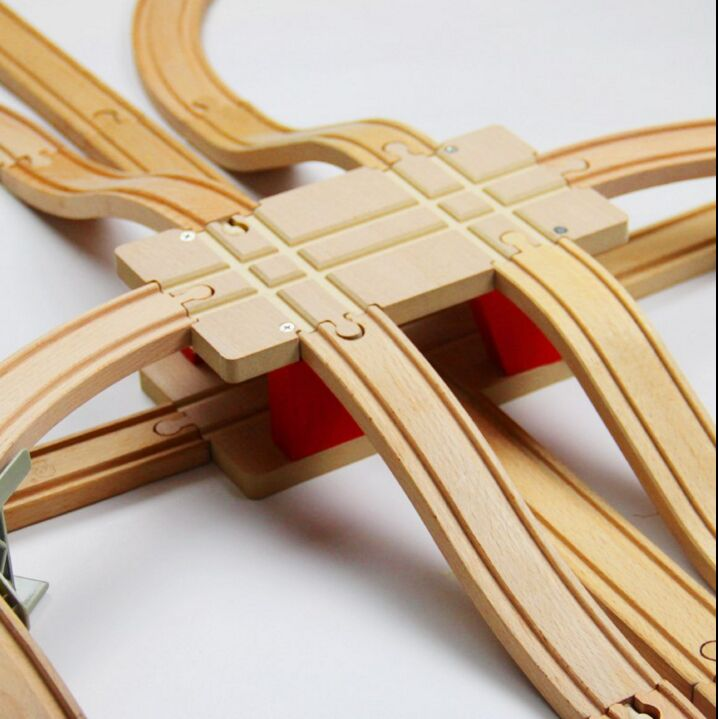 TTC51 H-BRIDGE Wooden Track Toy Train Scene Track Accessories BRIO Toy Car Truck Locomotive Engine Railway Toys For Children A