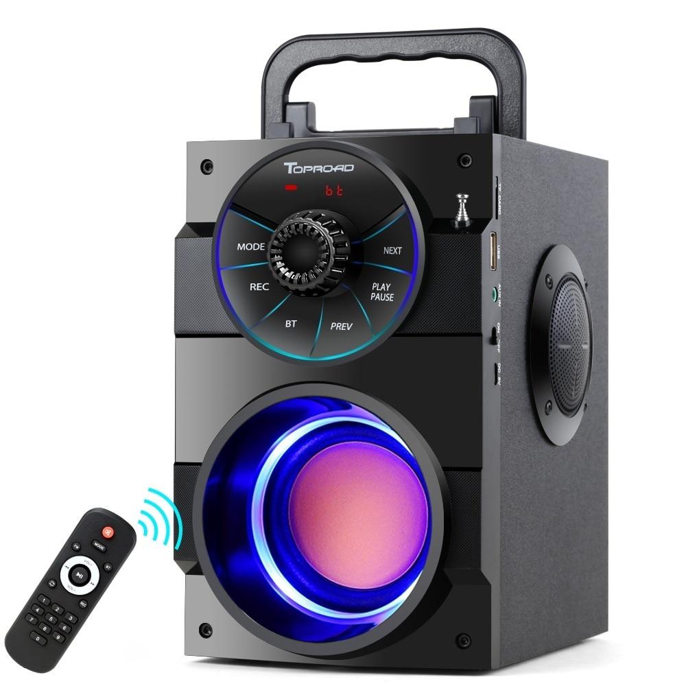 Haut-parleur Bluetooth Portable TOPROAD stéréo sans fil grand haut-parleur de basse puissant caisson de basses Support Boombox Radio FM TF AUX USB