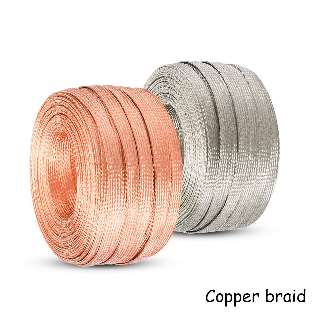 US $14 49 15% OFF|25 square copper stranded round bare copper wire flat  braided copper strip lightning protection grounding wire-in Wires & Cables