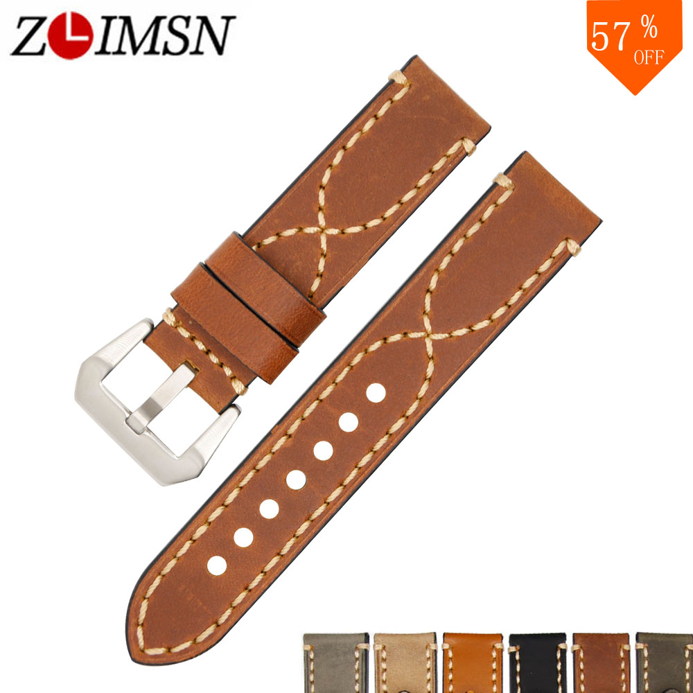 ZLIMSN Watch Band 20mm 22mm 24mm 26mm 26mm Vintage Cow կաշվե ժամացույց ժապավեն Panerai Luminor Radiomir Watchband