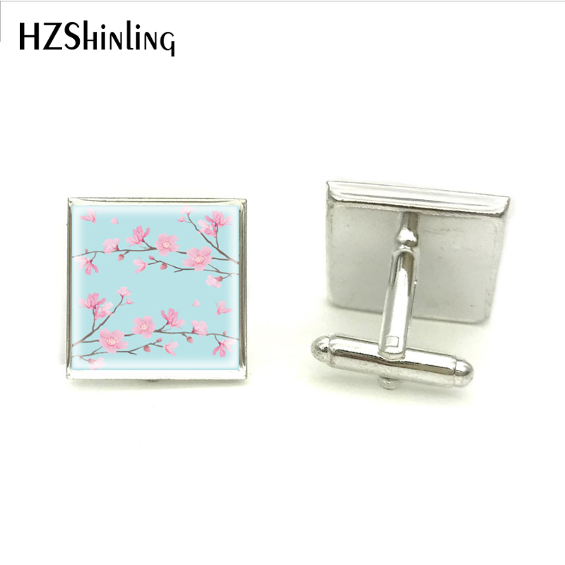 2018 New Cherry Blossom Sky Blue Cuff Link Hand Craft Square Cufflink Hot Jewelry Glass High Quality Clothing Accessory