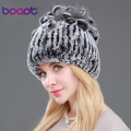 BOAPT Genuine Rex Rabbit Fur Women's Hats Winter Beanie Striped Head Top Flower Fox Fur Warm Real Wool Knit Caps Headgear