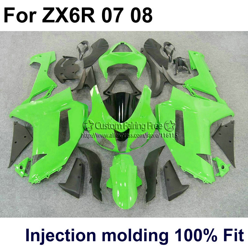 Injection molding aftermarket set for Kawasaki ZX-6R 07 08 green black fairings ninja 636 zx6r 2007 2008 fairing kit YE16 motorcycle fairing kit for kawasaki ninja zx10r 2006 2007 zx10r 06 07 zx 10r 06 07 west white black fairings set 7 gifts kd01