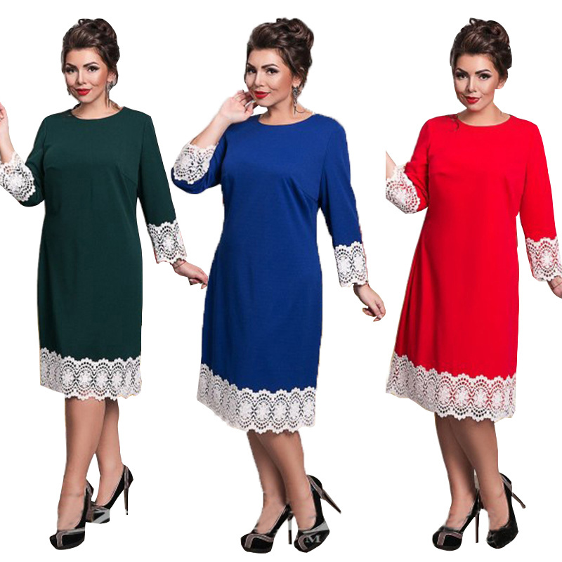 2018 Nieuwe Plus Size L-6xl Vrouwen Kantoor Uniformen Dames Banket Elegante Kant Casual 3 Colours Patchwork Feestjurken Jtd1263