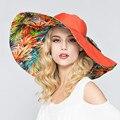 2016 Дизайн Одежды Цветочные Складная Большой Брим Вс Hat Летние Шляпы для Женщин На Открытом Воздухе УФ-Защитой Причинно-Бич Вс Шляпы