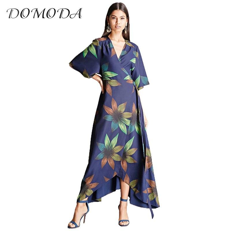 DOMODA Nova Moda Chiffon Vestido de Verão Mulheres Envoltório Frente V pescoço Cintura Alta Irregular Vestido Floral Impressão Maxi Festa Diária vestido