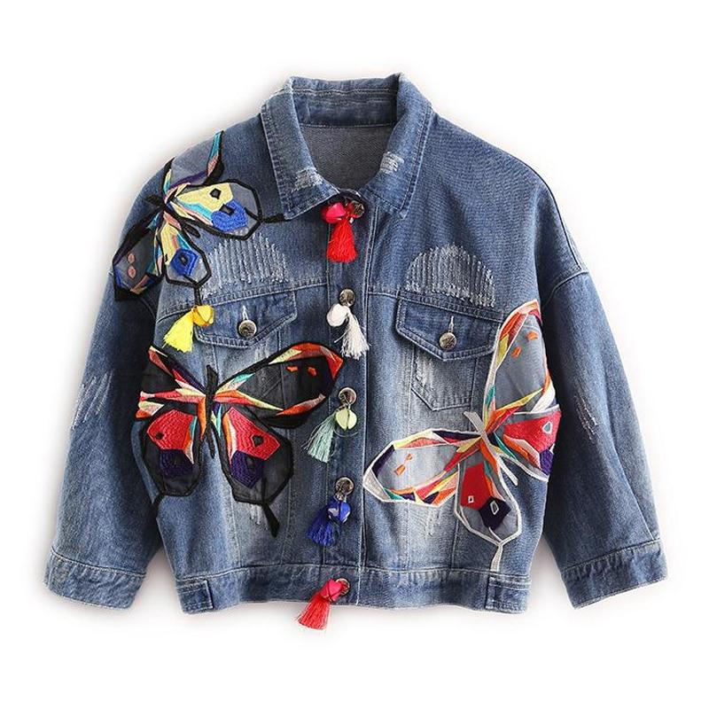 Women's Denim Jacket Fashion Harajuku Graffiti Patch Designs Loose Jean Coat Female Casual Jaqueta Feminina Ladies Outerwear