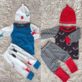Newborn Baby Boys Girls Tops T shirt Deer Pants Hat Outfit Set Christmas Clothes