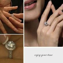 цена на  Shiny Round Rhinestone Crystal Sliver Finger Ring Women Valentine's Day Gift jr101