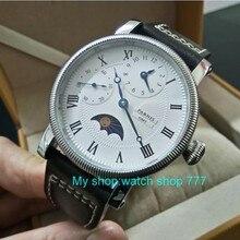 44 мм PARNIS Moon Phase механические мужские часы с ручным заводом многофункциональные механические часы оптом GD251A