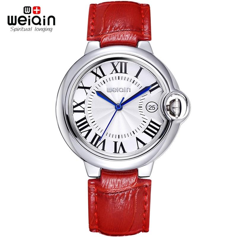 WEIQIN Date Rome Style 50m Vattentät Silver Fodral Äkta Läder Rem Klockor Kvinnor Lady Fashion Klänning Armbandsur Hours Clock