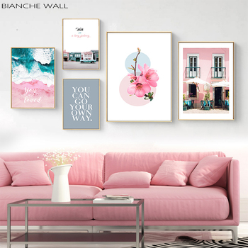 Architecture Cityscape Canvas Poster Scandinavian Wall Art Print Landscape Painting Nordic Style Picture Living Room Decor scandinavian pink swan sea canvas poster abstract wall art print motivation painting nordic decoration picture living room decor