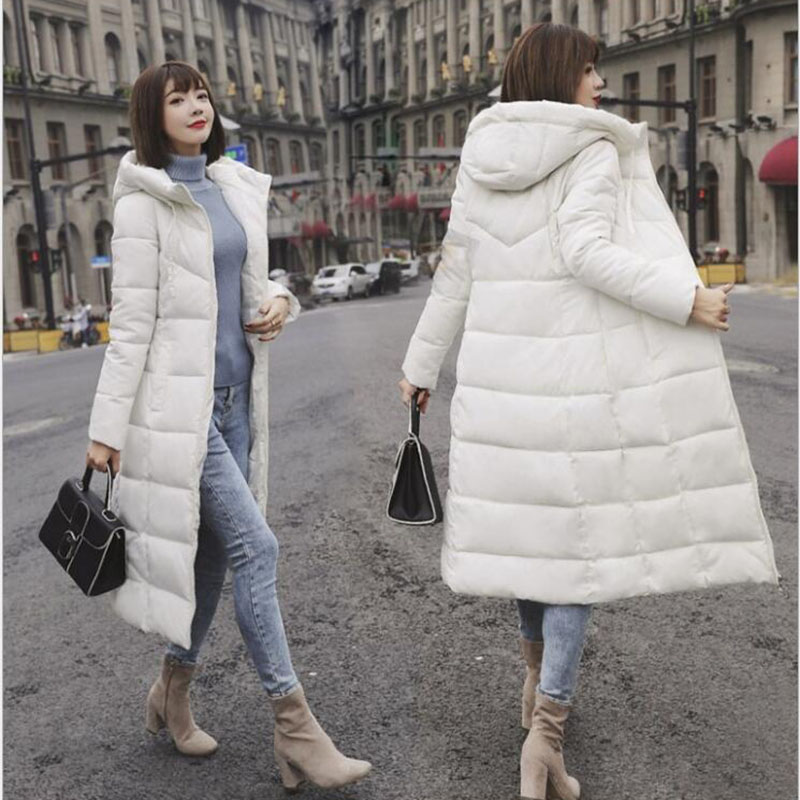 Winter Jacket Female   Parka   Coat Plus size M-6XL Fashion Down Jacket Long Hoodie Down Thick Long Coat Jacket Women Clothing