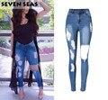 Além de Senhoras tamanho Rasgado Afligido Jeans Mulheres Magras Calça Jeans De Cintura Alta Esticar Calças Jeans com buracos Pantalones mujer Femme