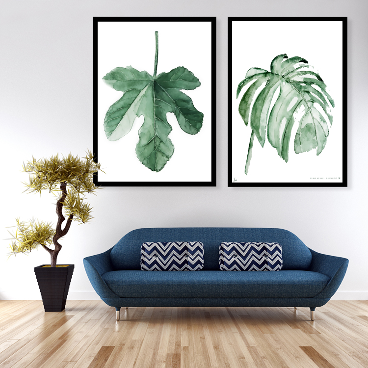 Watercolor Tropical Leaf Canvas Art Print Poster Wall