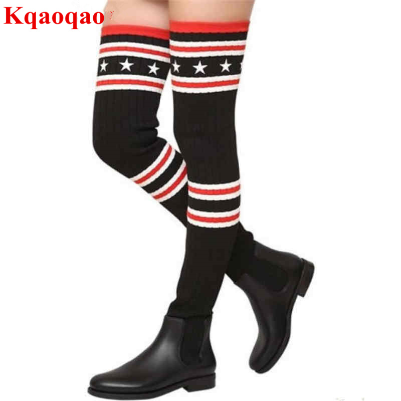 Brand Handmade Super Star Runway Street Over Knee Boots Stretch Fabric Mixed Color Design Long Booties Round Toe Luxury Brand yanicuding round toe women flock ankle booties metal short boots zip design luxury brand fashion runway star autumn shoes flats
